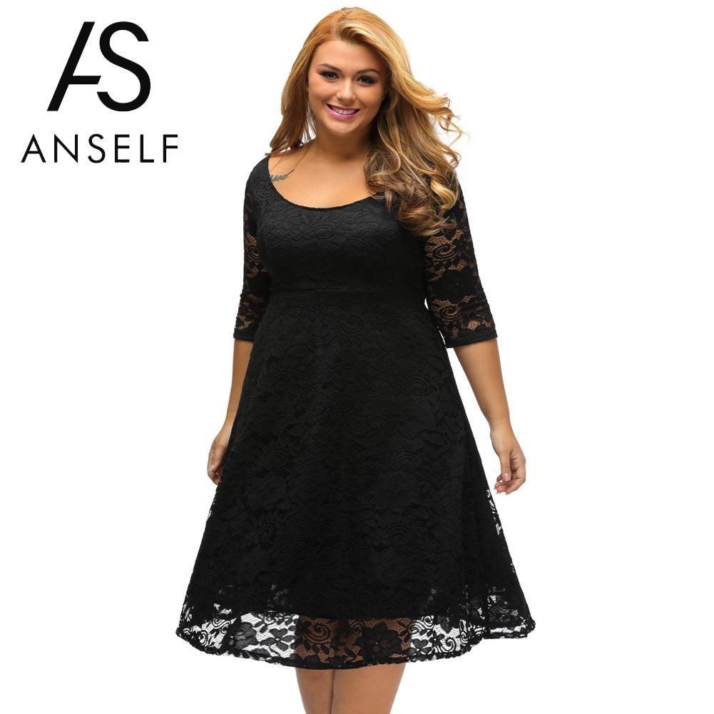 69d41c1ffbe0 Autumn Plus Size Dresses Women Lace Dress Midi Floral O-Neck A-Line Large  Evening Wedding Party Dress
