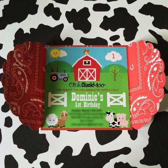 Farm Invitations Barnyard Birthday Invitations Personalized Cowboy Cowgirl Party Invitations