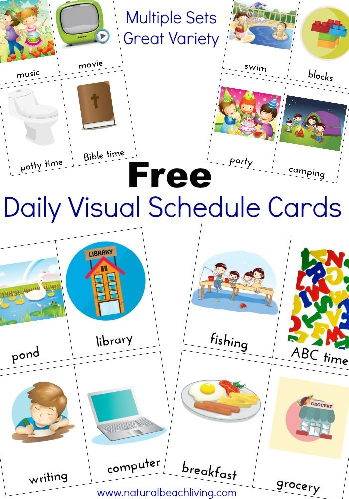 image relating to Free Printable Visual Schedule for Preschool known as Additional Day-to-day Visible Agenda Playing cards Cost-free Printables