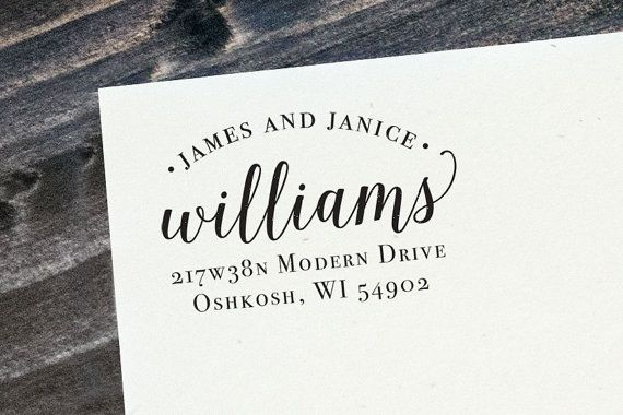 This custom address stamp is both modern and elegant. Its perfect for every day mail or for something special like wedding invitations. The stamp