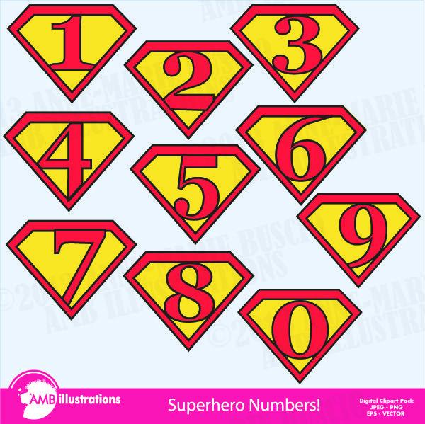 SUPERHERO NUMBERS CLIPART | Mygrafico Super Hero Party Ideas ...