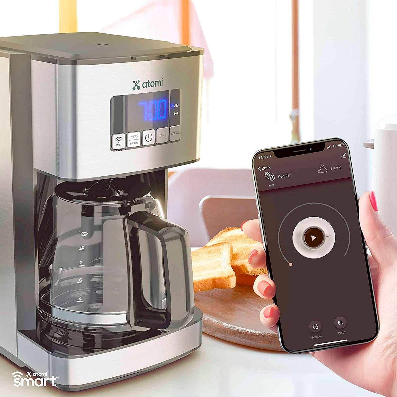 Atomi Smart Wifi Coffee Maker 12 Cup Compatible With Amazon Alexa And Google Home Continue To The Product At The Imag Wifi Coffee Maker Coffee Maker Coffee