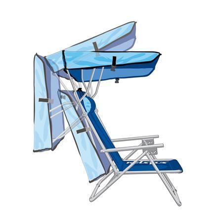 Silla de playa con parasol de Kelsyus, azul en wwwachicaes