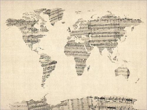 Map of the world from old sheet music d o i t y o u r s e l f map of the world from old sheet music solutioingenieria Images