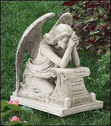 Amazon.com: 17.25 Inches Wide X 18.5 Inches High, Resin Memorial Remembrance Grieving Angel Statue for Grave: Patio, Lawn & Garden