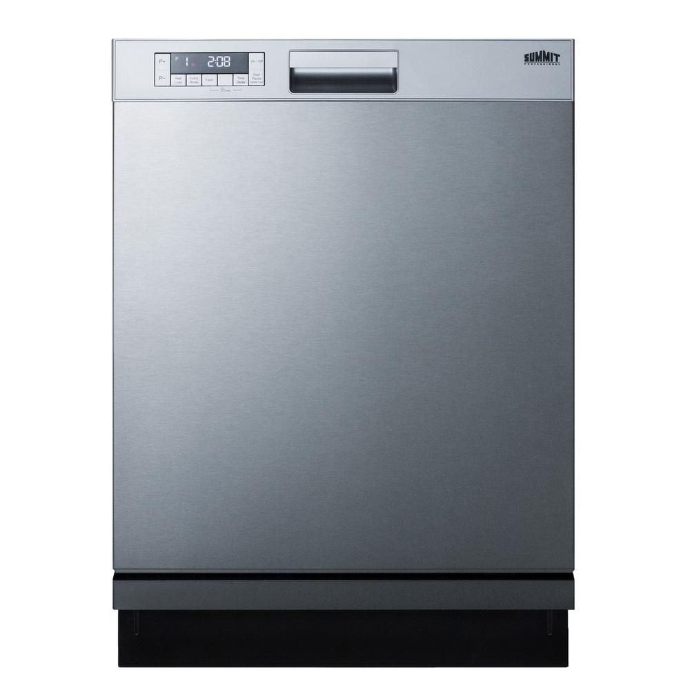 Summit Appliance 24 In Stainless Steel Front Control Smart Dishwasher Digital 120 Volt With Stainless Steel Tub Dw2435ss The Home Depot Steel Tub Quick Storage Stainless Steel Panels