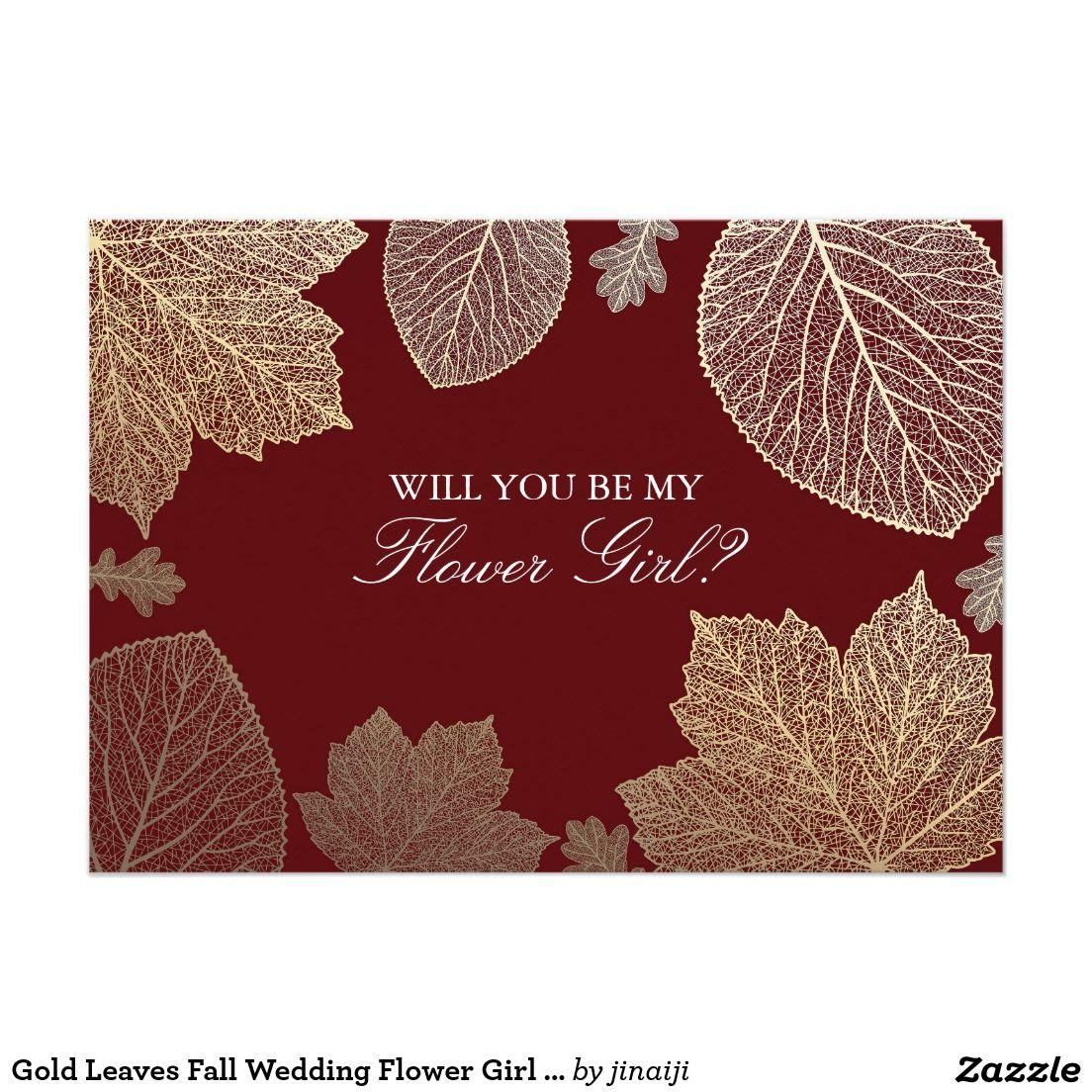 Gold Leaves Fall Wedding Flower Girl Invitation   { Wedding ...