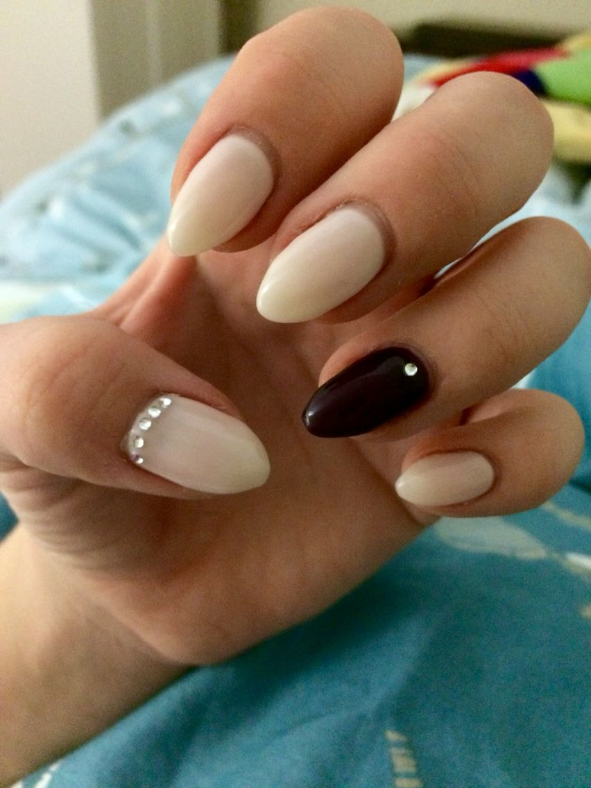 fall nails almond shape diamond design dark purple and baby pink ...