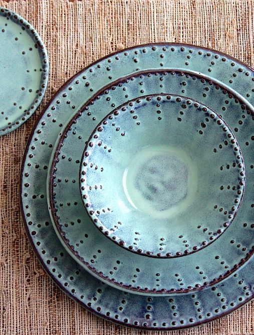 Dinner Plates - Handmade Stoneware Dinnerware - Dinner Salad Plate and Bowl - Aqua Mist - French Country - MADE TO ORDER