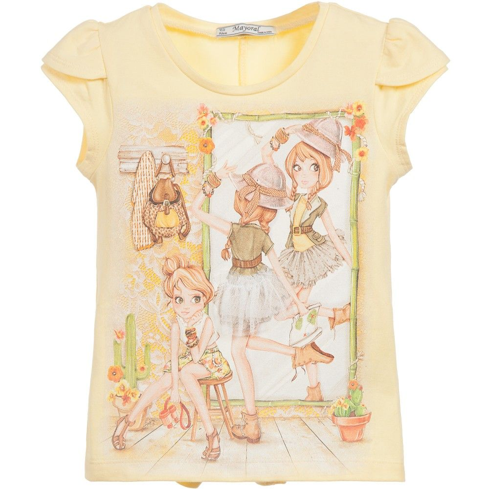 3d9514d83023c7 Girls pale yellow  Girl  print t-shirt by Mayoral. Made in soft ...