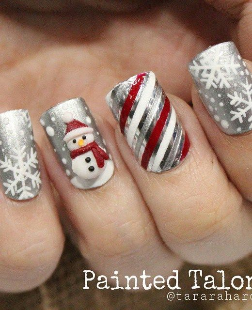 21 Fabulous And Easy Christmas Nail Designs 7 Fashionable Silver Nail Design For Christmas Nail Art Designs Silver Nail Designs Christmas Nail Designs Easy