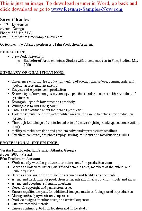 Film Production Assistant Resume Template - http\/\/www - film production resume