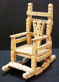 Vintage handcrafted wood clothespin rocking chair handmade wooden doll furniture Reminds me of one my daughter made me in school & Resultado de imagem para wooden peg rocking chairs | PROJETO ...