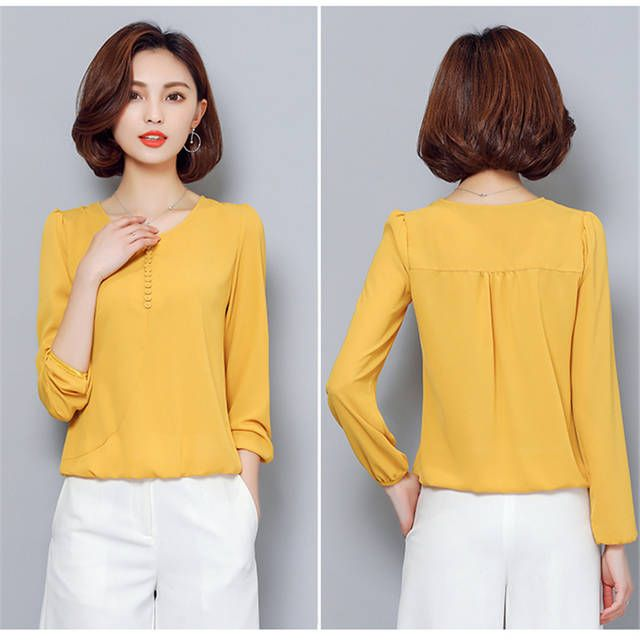 6002b4c30 Novo 2018 Blusa Chiffon Camisa Mulheres Outono Sólida Tops Mais tamanho 4XL  de Manga Longa Moda Casual Shirts Blusas feminina boho A910