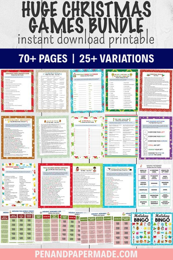 Christmas Game Printables Bundle [70+ Pages!] in 2020