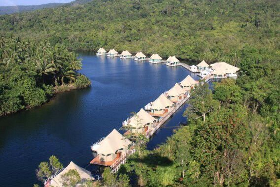 4 Rivers Floating Lodge, Cambodia Courtesy 4 Rivers Floating Lodge Accessible only by boat, the eco-friendly 4 Rivers Floating Lodge in Cambodia consists of 12 luxury tents arranged along a bend in the Tatai River, which winds through the remote Cardamom mountains. The octagonal floating structures—whose furnishings are made from the locally abundant water hyacinth—boast windows on all sides, allowing guests to take in lush views from every angle. From $220/night; ecolodges.asia