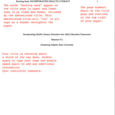 Title Page Formats  Apa Style And Ss