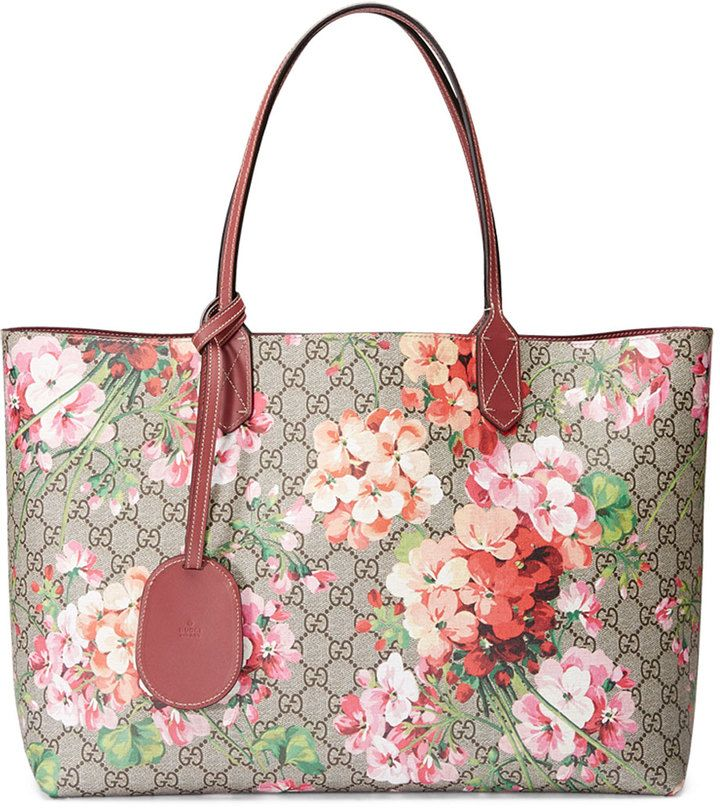 Gucci Gg Blooms Medium Reversible Leather Tote Bag Multicolor