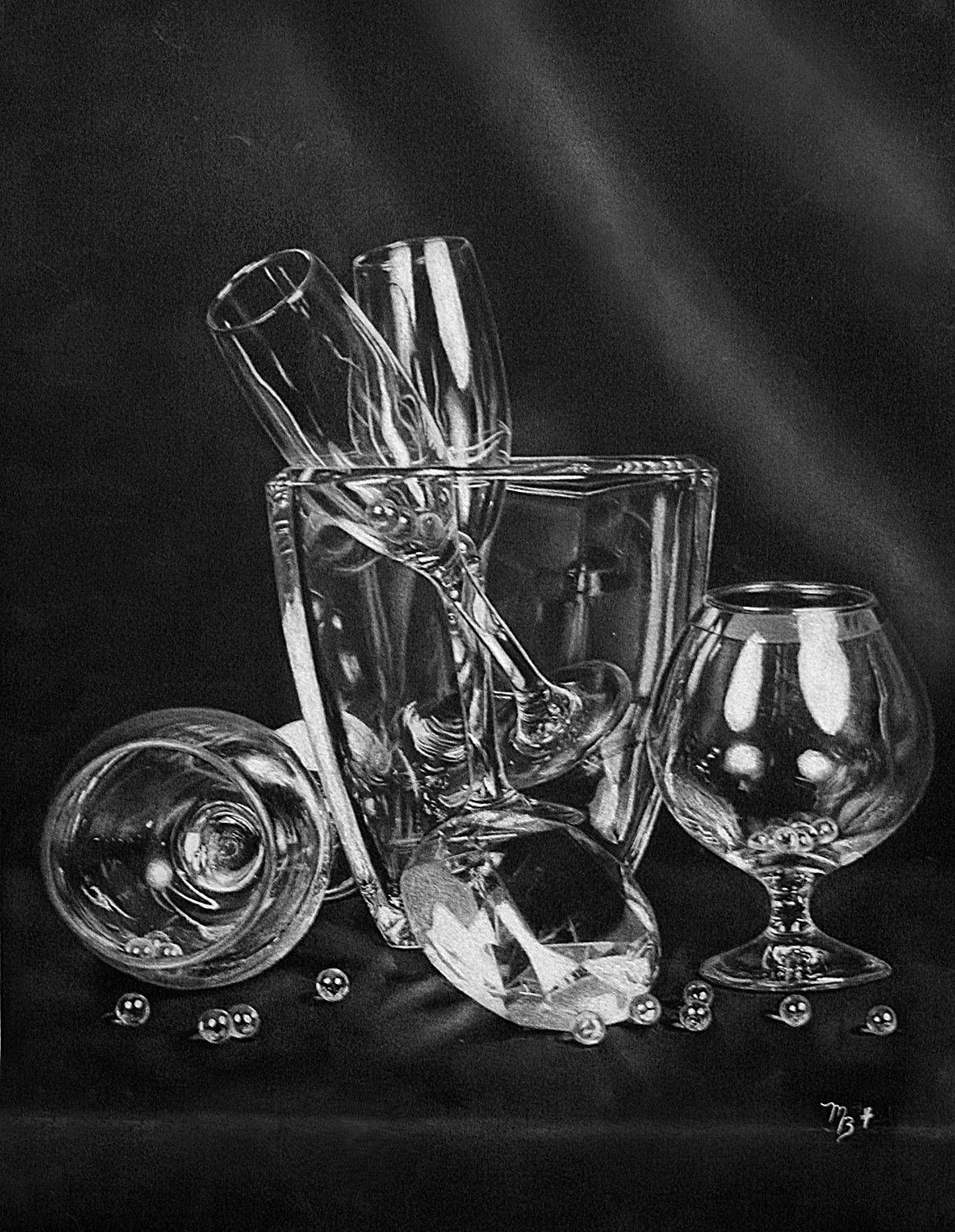 Art charcoal drawing glass crystal photo realism black white pencil