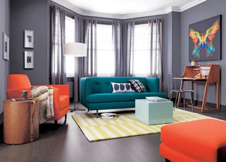 Colorful in a grey room!