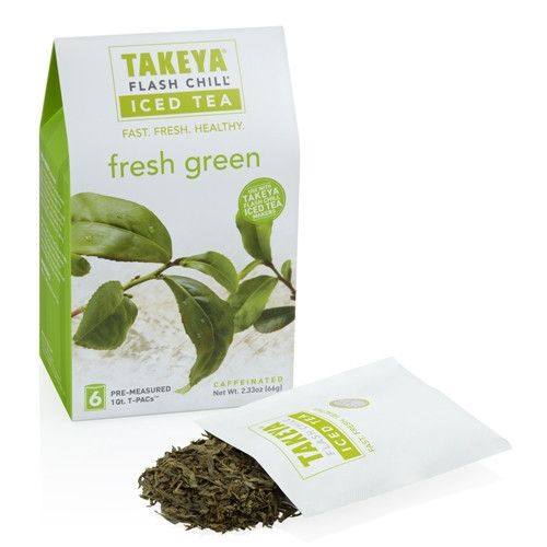Takeya Whole Leaf Fresh Green Tea  $7.99 FRESH SENCHA GREEN FLAVOR (caffeinated) The Fresh Green Chinese Sencha brews to a crisp, light and clean flavor with a pale green liquor. The delicately steamed, flat and long tea leaves need to be handled with care and brewed in water that is well under boiling. The slightly vegetal aftertaste reminds us of spring freshness.