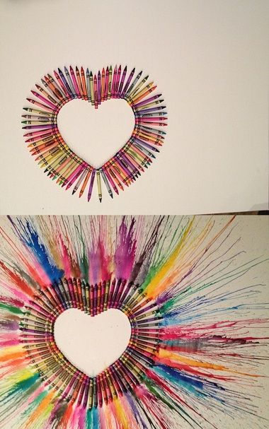 Crayon art before and after! Click for tutorial! #crayonheart