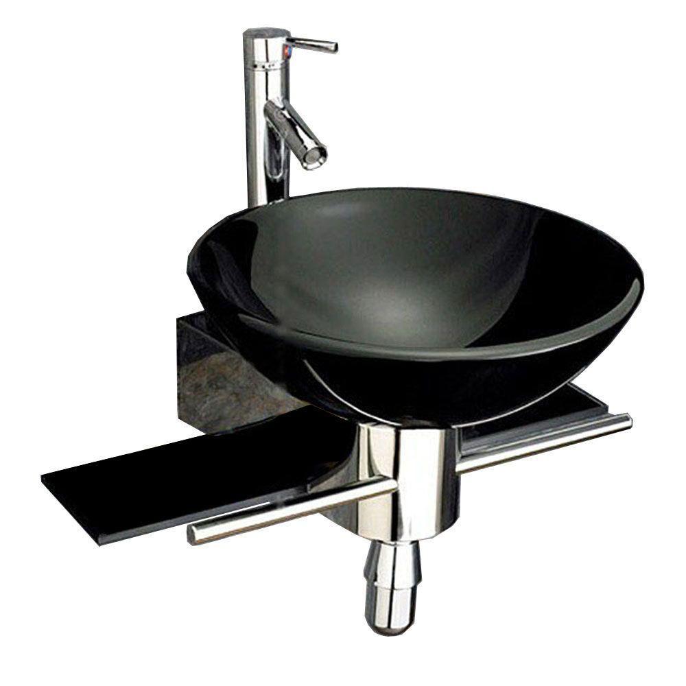 Kokols Palasa Wall Mounted Bathroom Sink In Black Wf 32 The Home