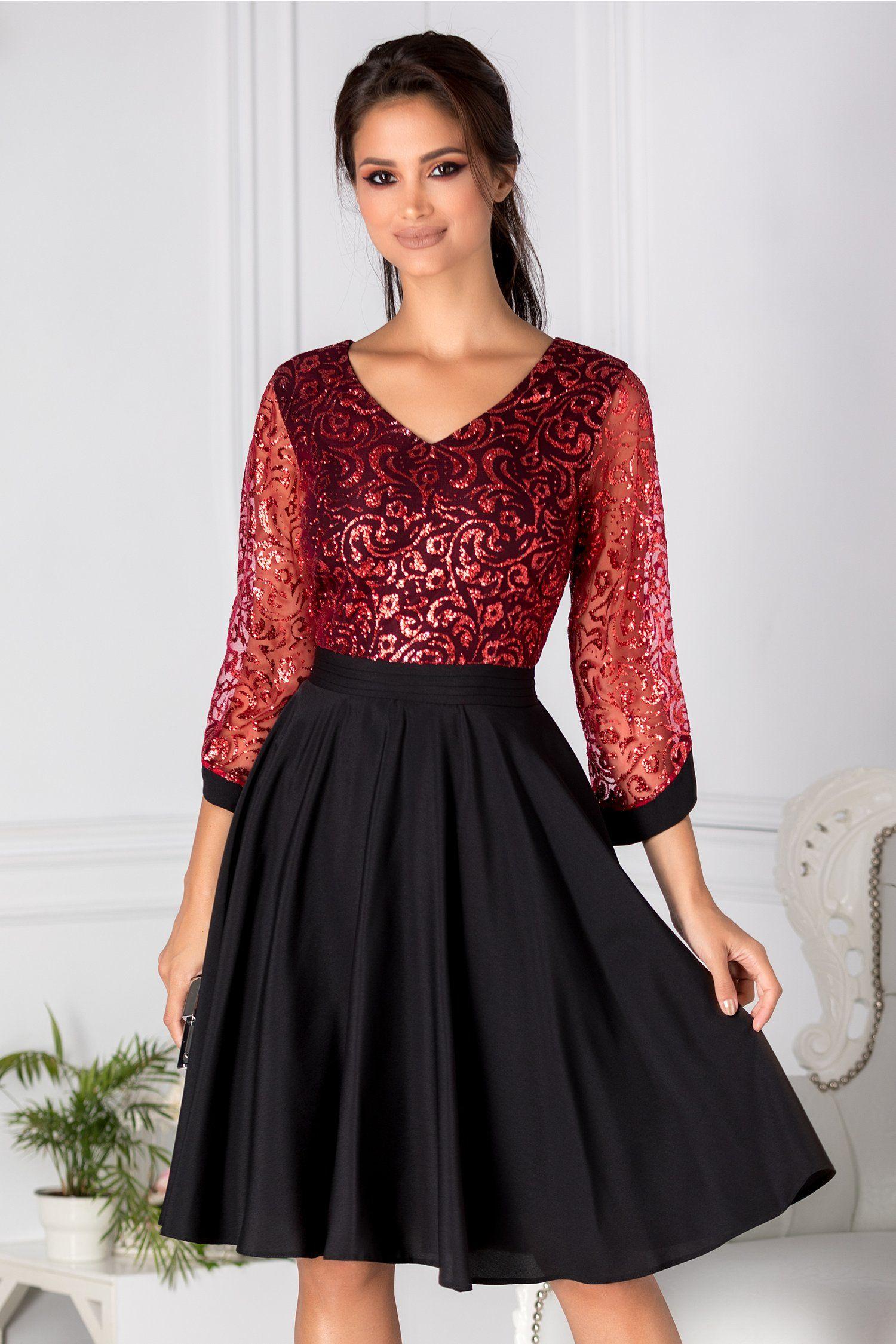 Imagini pentru rochie de seară negru si rosu