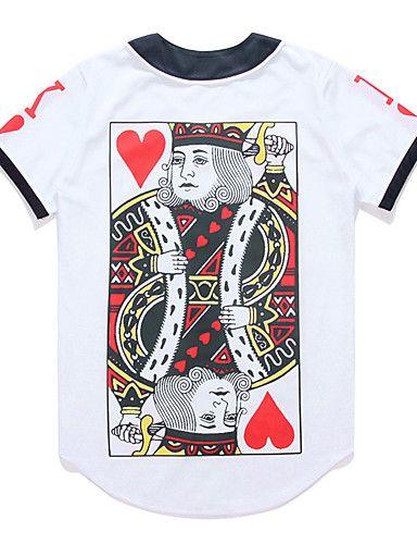 cdf887a131 Masculino Camiseta Poliéster Estampado Manga Curta Casual   Escritório    Formal   Esporte-Branco