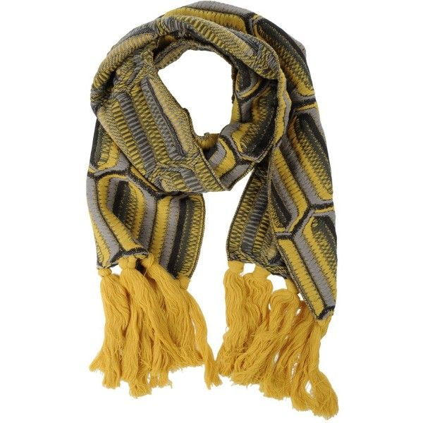 Jamin Puech Oblong Scarf ($185) ❤ liked on Polyvore featuring accessories, scarves, yellow, fringed shawls, fringe scarves, print scarves, oblong scarves and multi colored scarves