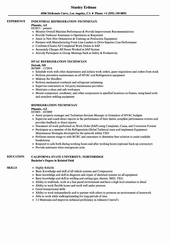 Hvac Technician Job Description Resume Luxury Refrigeration Technician Resume Samples Resume Examples Resume Professional Resume Examples