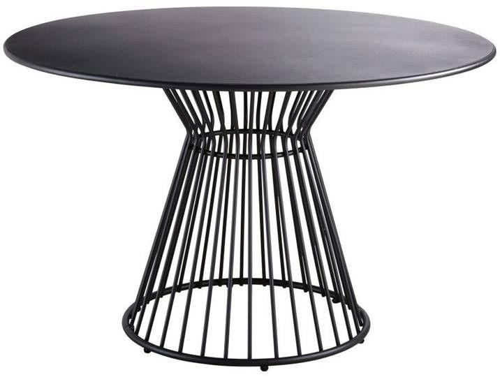 Runder Gartentisch Aus Mattschwarzem Metall Fur 4 Personen D121
