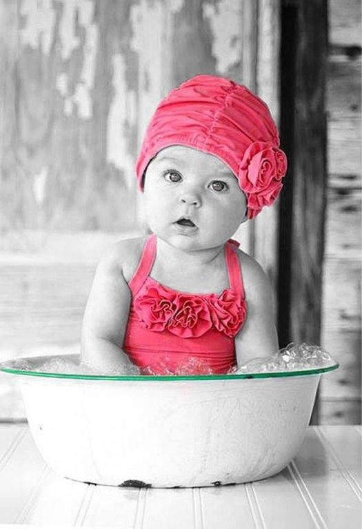 Cute Baby Black White Colorsplash Photography Baby