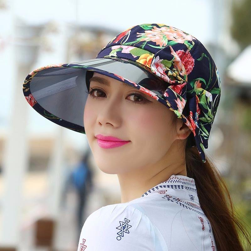 Summer Sun Beach Anti Uv Print Flower Large Brim Cap Outdoor Blocking Sunlight Women Sun Hat 2 Styles 4 Colors Hats For Women Sun Hats Hats