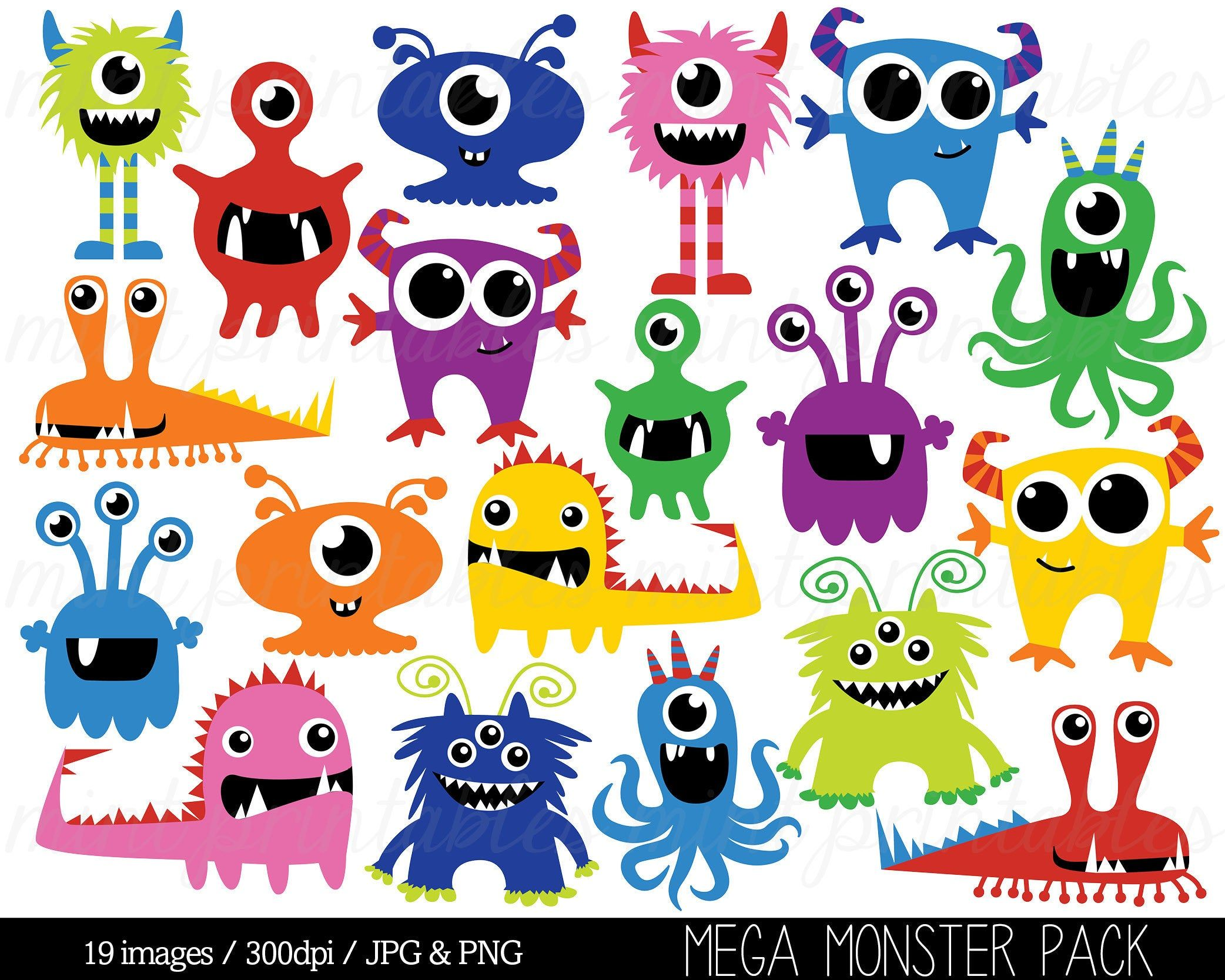 Clipart De Monstre Monstres Clip Art Clipart Anniversaire Etsy Coloriage Monstre Image Monstre Monstre Maternelle