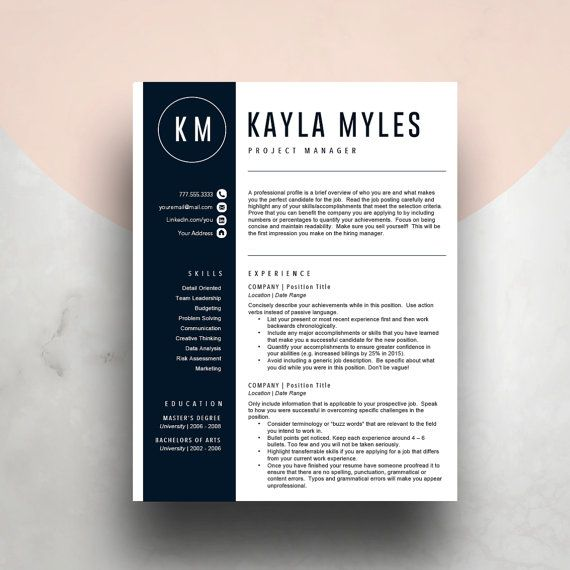 Blue resume template for word ( 2 page resume, cover letter, icon