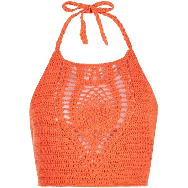 New Look Petite Bright Orange Crochet Halter Neck Crop Top ($9.12) ❤ liked on Polyvore featuring tops, crop tops, shirts, spicy orange, macrame halter top, halter top, halter neck crop top, red shirt and petite tops