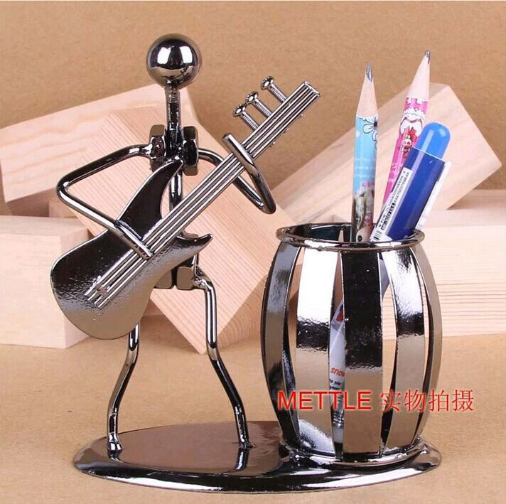Popular Creative metal Pen holder Vase Pencil Pot Stationery Desk Tidy Container office stationery supplier business craft Gift
