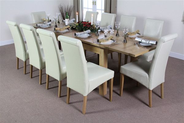 Dorset Natural Solid Oak Dining Set 6ft Extending Table With 10 Scroll Back Cream Leather Chairs Only 1 249 00 On Oakfurnitureland Co Uk Http Tinyur