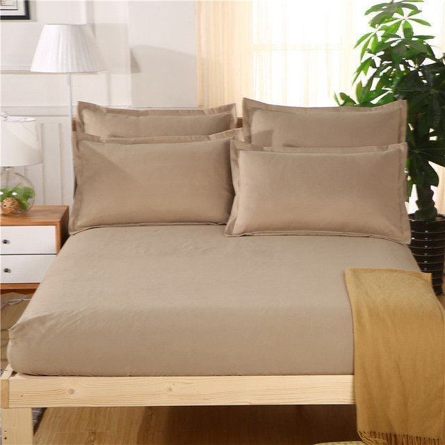 100 Cotton Fitted Bed Sheets King Queen Size With Pillowcase Elastic Band Bedsheet Protective Matress Covers 120cm 150cm 180cm