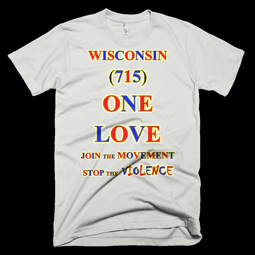T WISCONSIN Area Code ONE LOVE TSHIRT - Area code 715