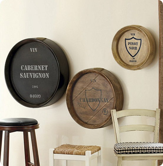Pottery Barn Wine Barrel Wall Art | Wine Barrel Plaques