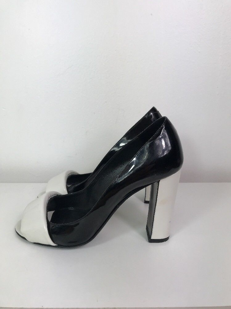 27315d2e85f4 PIERRE HARDY 39.5 Black and White Patent Leather Peep Toe Pumps 4
