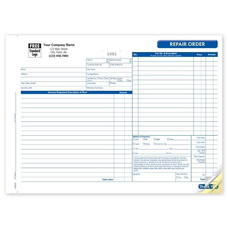 Automotive Repair Invoice Form  Automotive Repair Shops