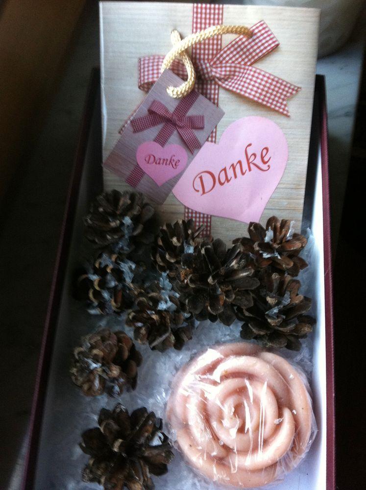 Winterliches SET mit ROSEN SEIFE 130g +Geschenk BOX + TASCHE Danke ...