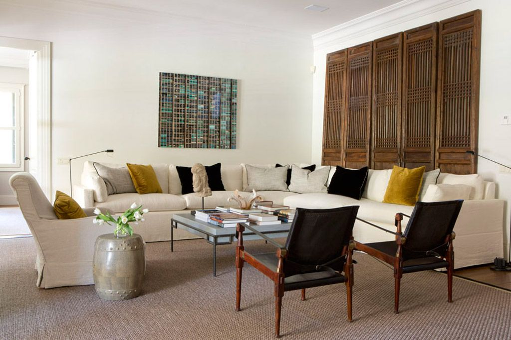 Beautiful salon with white linen sofa & vintage chairs from interior ...