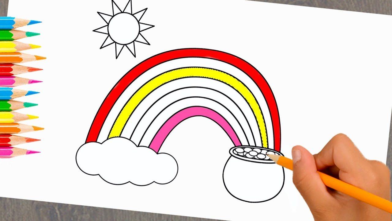 Dibujo para niños Dibujo Hermoso arco iris para aprender colores y ...