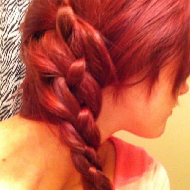 Three strand French braid side pony