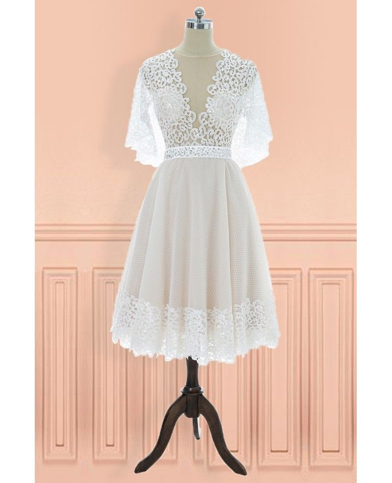Unique vintage vneck lace knee length wedding dress with sleeves