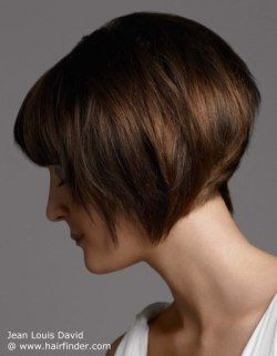 Chin length angled bob with a shorter nape. Brown highlighted hair.